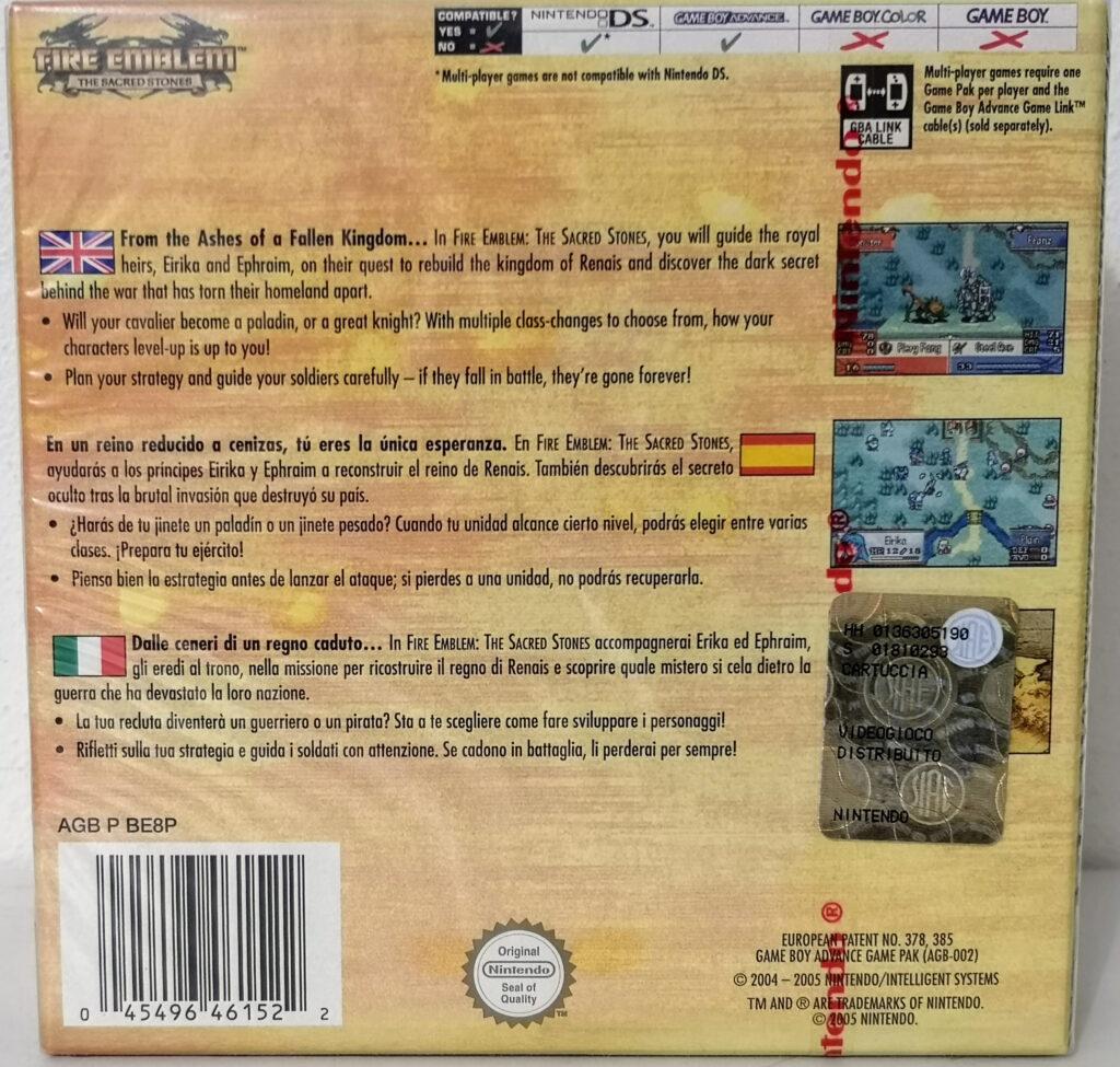 Fire Emblem: The Sacred Stones, back cover