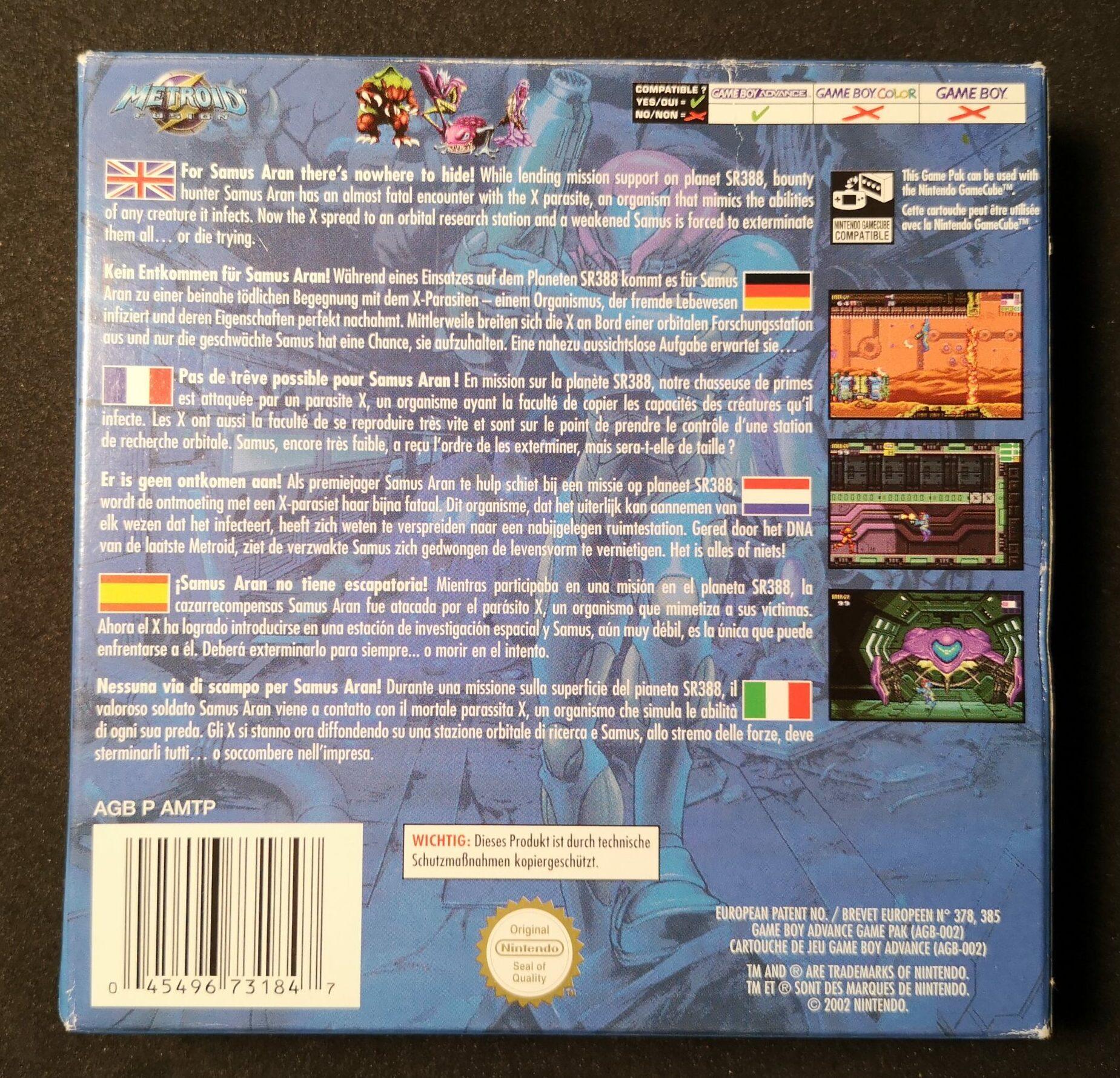 Metroid Fusion, retro della confezione
