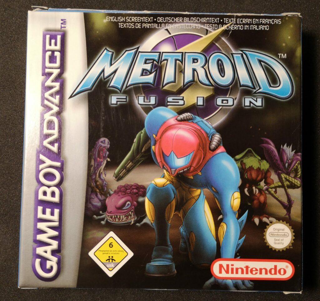 Metroid Fusion (2002 NIntendo Game Boy Advance), fronte della confezione