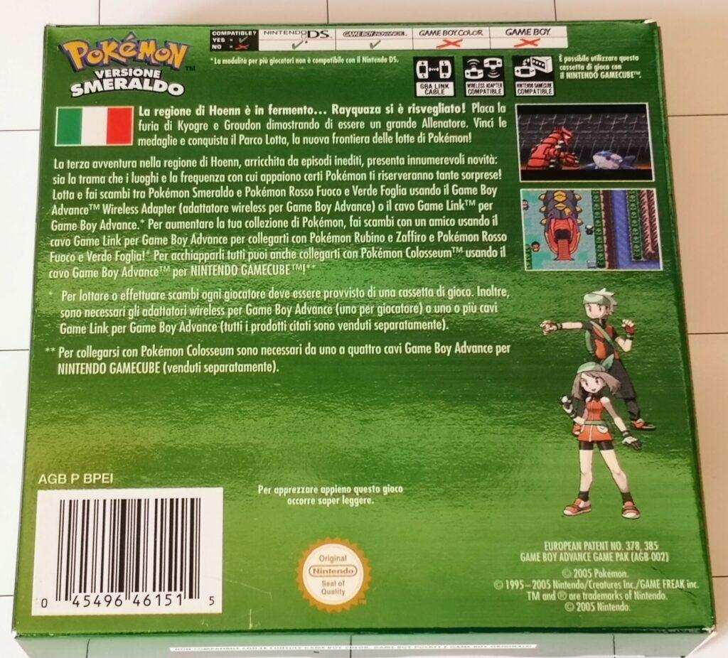 Pokemon Versione Smeraldo, copertina retro