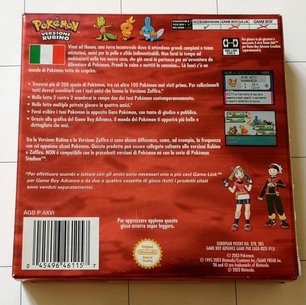 Pokemon Versione Rubino, copertina retro