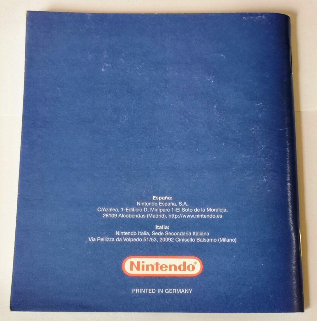 Metroid Fusion (2002 NIntendo Game Boy Advance), dettaglio retro copertina manuale di istruzioni.