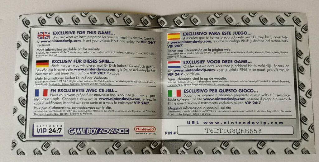 Metroid Fusion (2002 NIntendo Game Boy Advance), dettagli cartaceo VIP 24:7