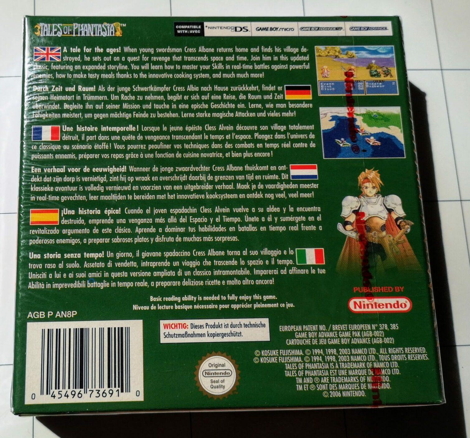 Tales of Phantasia (2006 Nintendo Game Boy Advance), dettaglio per colori della copertina retro