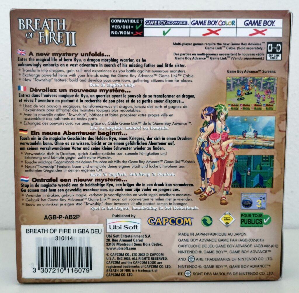 Breath of Fire II (Nintendo GameBoy Advance, Ubisoft 2002), copertina retro
