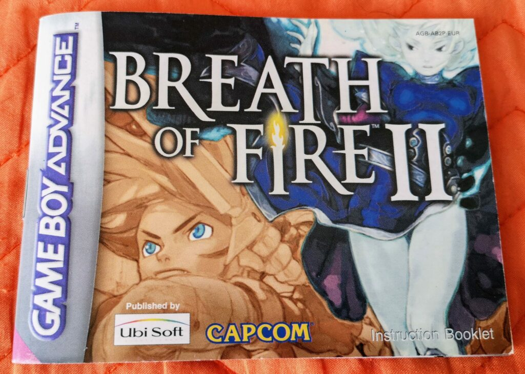 Breath of Fire II (Nintendo GameBoy Advance, Ubisoft 2002), fronte Instruction Booklet