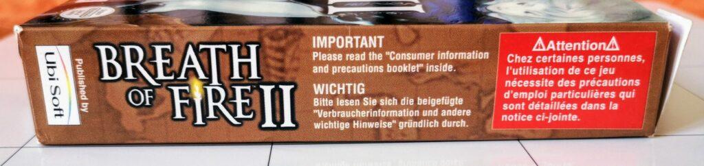 Breath of Fire II (Nintendo GameBoy Advance, Ubisoft 2002), laterale 2