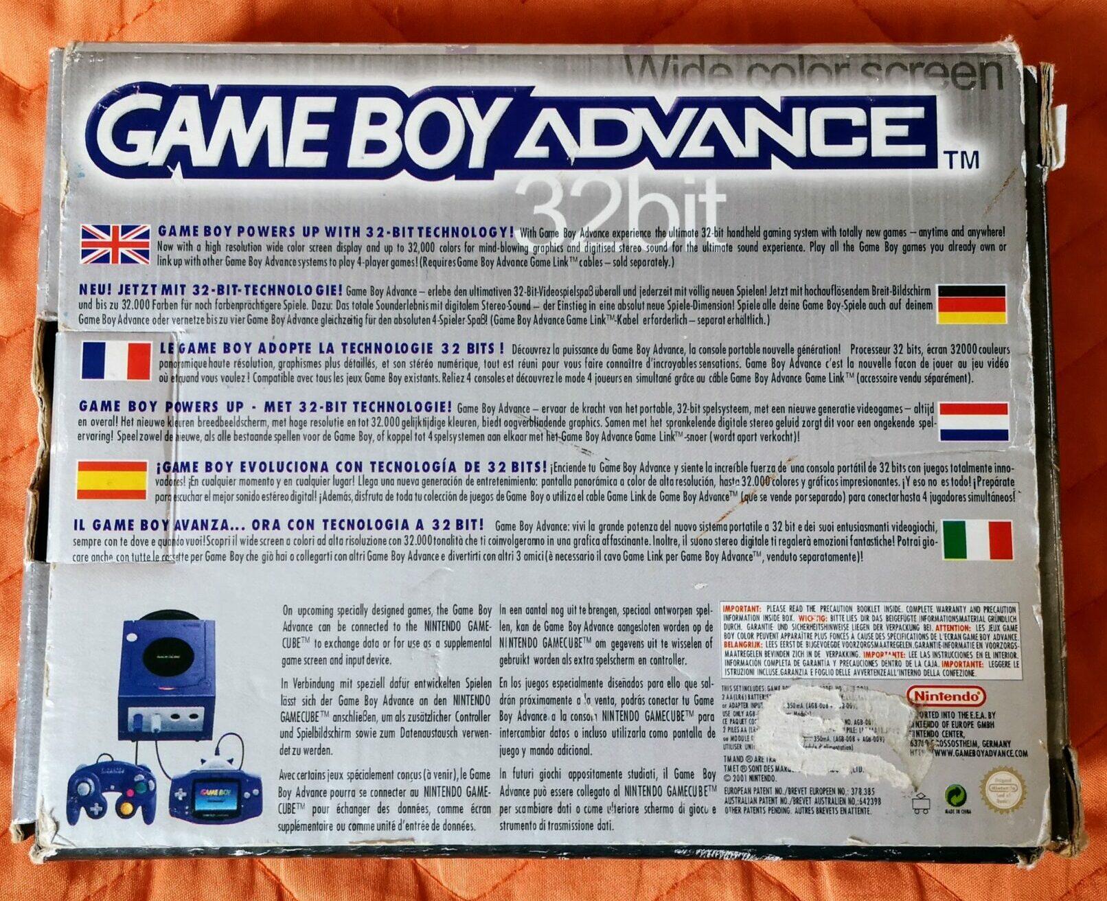 Game Boy Advance, scatola retro