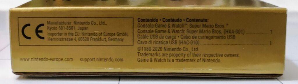 Game & Watch: Super Mario Bros., scatola lato 2