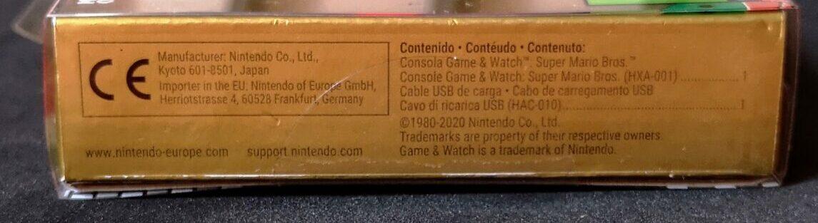 Game & Watch: Super Mario Bros. (nuovo), confezione lato 4