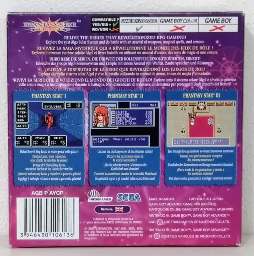 Phantasy Star Collection (2003 Nintendo Game Boy Advance), copertina posteriore