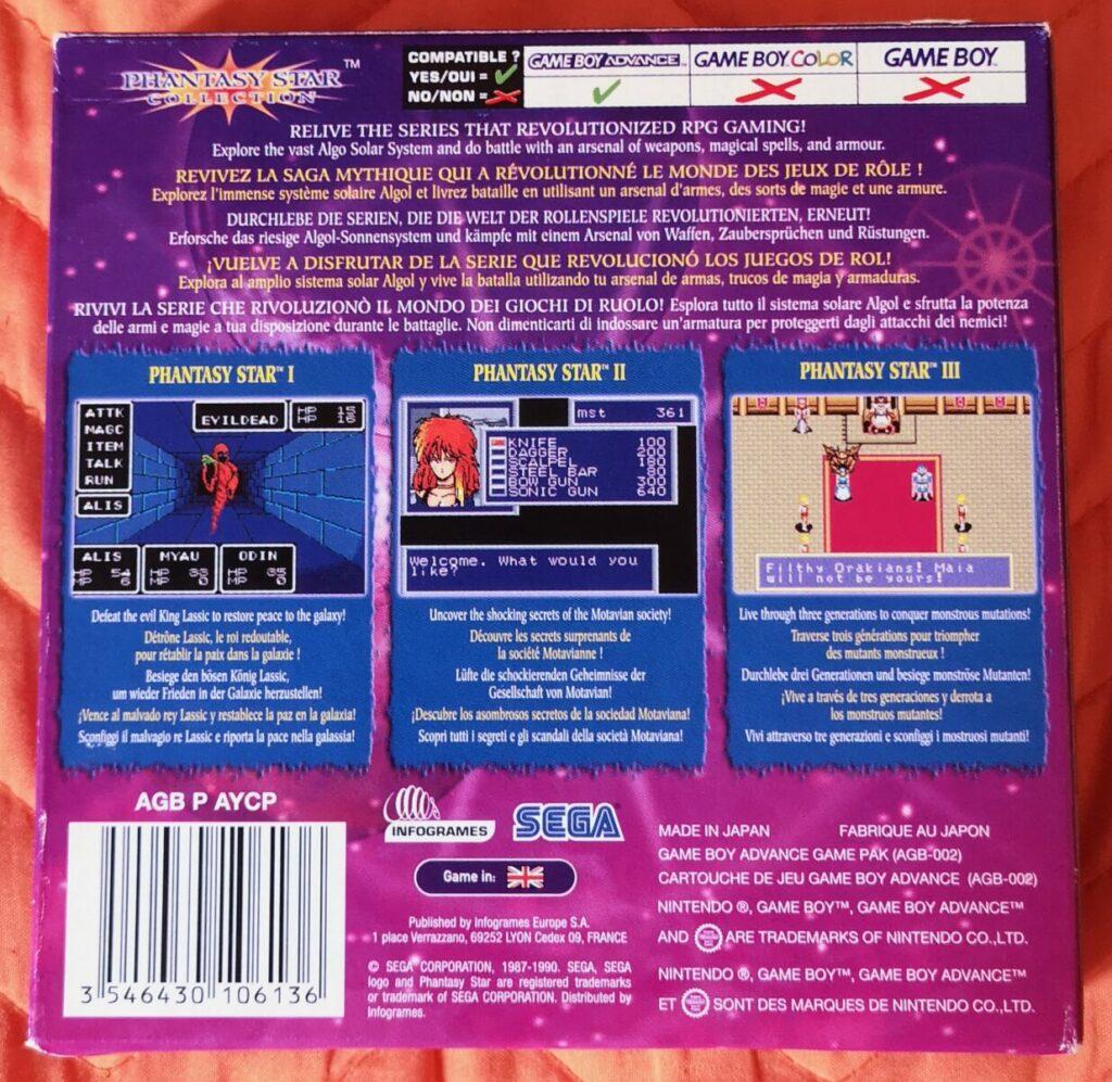 Phantasy Star Collection (2003 Nintendo Game Boy Advance), dettaglio colori copertina posteriore