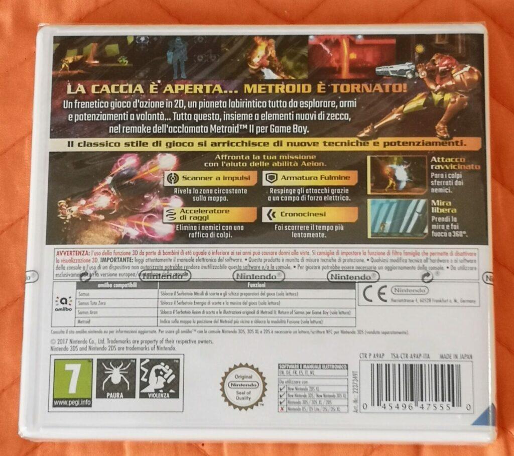 Metroid: Samus Returns, copertina posteriore
