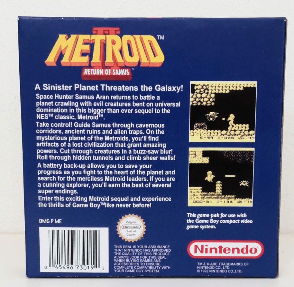 Metroid II: Return of Samus (1992 Nintendo Game Boy), copertina posteriore