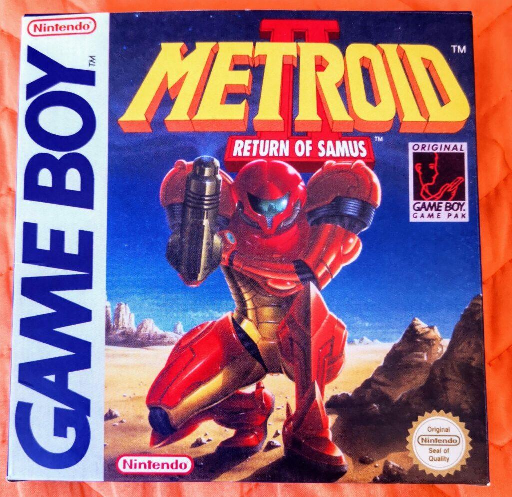 Metroid II: Return of Samus (1992 Nintendo Game Boy), dettaglio colori copertina frontale