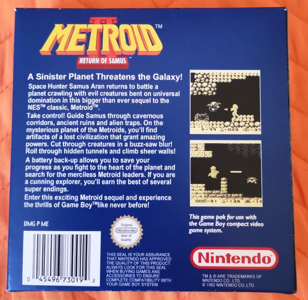 Metroid II: Return of Samus (1992 Nintendo Game Boy), dettaglio colori copertina posteriore